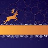 Έμβλημα Χριστουγέννων με τον τάρανδο Στοκ Εικόνες