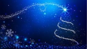 Έμβλημα Χριστουγέννων με το μαγικά χριστουγεννιάτικο δέντρο & Snowflakes Στοκ φωτογραφία με δικαίωμα ελεύθερης χρήσης