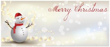 Έμβλημα Χριστουγέννων με το χιονάνθρωπο Στοκ Εικόνα