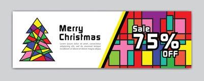 Έμβλημα Χριστουγέννων, πρότυπο εμβλημάτων πώλησης, οριζόντιες αφίσες Χριστουγέννων, κάρτες, επιγραφές, ιστοχώρος, ζωηρόχρωμο υπόβ διανυσματική απεικόνιση