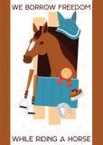 Έμβλημα jokey κινούμενων σχεδίων με το άλογο στο σταύλο, εξοπλισμός για την ιππασία, αναβολεύς, πέταλο, ίππειο με το βραβείο διάν ελεύθερη απεικόνιση δικαιώματος