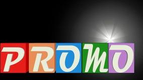 Έμβλημα Promo με τις επιστολές στους πολύχρωμους μειωμένους κύβους, μουτζουρωμένο φως στο μαύρο υπόβαθρο, απεικόνιση αποθεμάτων