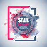Έμβλημα έκπτωσης πώλησης -50% με το ζωηρόχρωμο παφλασμό watercolor Στοκ Φωτογραφίες
