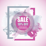 Έμβλημα έκπτωσης πώλησης -10% με το ζωηρόχρωμο παφλασμό watercolor Στοκ φωτογραφία με δικαίωμα ελεύθερης χρήσης