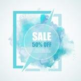 Έμβλημα έκπτωσης πώλησης -50% με το ζωηρόχρωμο παφλασμό watercolor Στοκ Εικόνες