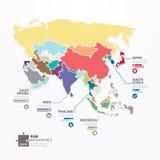 Έμβλημα έννοιας τορνευτικών πριονιών προτύπων χαρτών της Ασίας Infographic. διάνυσμα. Στοκ Εικόνες