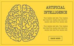 Έμβλημα έννοιας του εγκεφάλου που διαμορφώνεται με το δυαδικό κώδικα ελεύθερη απεικόνιση δικαιώματος