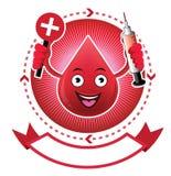 Έμβλημα αίματος χαμόγελου κινούμενων σχεδίων Στοκ Φωτογραφία
