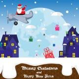 Έμβλημα αστείος Άγιος Βασίλης Χριστουγέννων στο αεροπλάνο στις σκιαγραφίες υποβάθρου της πόλης Ύφος κινούμενων σχεδίων επίσης cor Στοκ Εικόνες