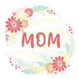 Έμβλημα για την ημέρα μητέρων Στρογγυλή διανυσματική απεικόνιση με τα λουλούδια και τα φύλλα στο άσπρο υπόβαθρο Στοκ Εικόνες