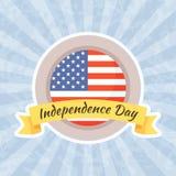 Έμβλημα για τη ημέρα της ανεξαρτησίας και το τέταρτο του Ιουλίου Στοκ φωτογραφία με δικαίωμα ελεύθερης χρήσης