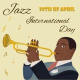 Έμβλημα για τη διεθνή ημέρα της Jazz με τα saxophones, το πιάνο και το μουσικό που παίζει το saxophone Στοκ εικόνες με δικαίωμα ελεύθερης χρήσης