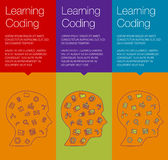 Έμβλημα για τις σε απευθείας σύνδεση σειρές μαθημάτων, εκπαιδευτική κατάρτιση, app Στοκ Φωτογραφία