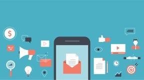 Έμβλημα για το περιεχόμενο μάρκετινγκ επιχειρησιακού ηλεκτρονικού ταχυδρομείου ελεύθερη απεικόνιση δικαιώματος