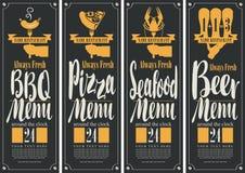 Έμβλημα για B-B-Q τις επιλογές, επιλογές πιτσών, επιλογές θαλασσινών, επιλογές μπύρας Στοκ Εικόνα