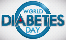 Έμβλημα ημέρας παγκόσμιου διαβήτη με την μπλε πτώση κύκλων και αίματος, διανυσματική απεικόνιση Στοκ Εικόνες