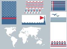 Έμβλημα θάλασσας και infographic στοιχεία καθορισμένα Στοκ Φωτογραφία