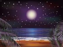 Έμβλημα θάλασσας νύχτας, διάνυσμα απεικόνιση αποθεμάτων