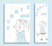 Έμβλημα θερινής πώλησης με το χαριτωμένο κορίτσι Στοκ εικόνες με δικαίωμα ελεύθερης χρήσης