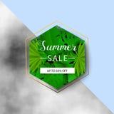 Έμβλημα θερινής πώλησης φύλλα τροπικά επίσης corel σύρετε το διάνυσμα απεικόνισης Έμβλημα θερινής πώλησης με το τρισδιάστατο της  Στοκ Φωτογραφίες