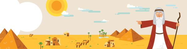 Έμβλημα Ιστού με το Μωυσή από την ιστορία Passover και το τοπίο της Αιγύπτου αφηρημένη διανυσματική απεικόνιση σχεδίου Στοκ εικόνες με δικαίωμα ελεύθερης χρήσης