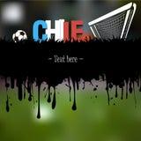 Έμβλημα και λέξη Χιλή Grunge με μια σφαίρα και μια πύλη ποδοσφαίρου Στοκ Φωτογραφίες