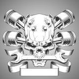 Έμβλημα κρανίων μηχανών διανυσματική απεικόνιση