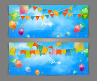Έμβλημα κόμματος με τις σημαίες και ballons Στοκ εικόνα με δικαίωμα ελεύθερης χρήσης