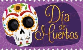 Έμβλημα με εορτασμό & x22 κρανίων χαμόγελου το μεξικάνικοι Dia de Muertos& x22 , Διανυσματική απεικόνιση Στοκ Φωτογραφία
