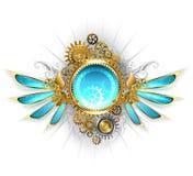 Έμβλημα με τα μηχανικά φτερά γυαλιού Στοκ Εικόνες