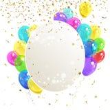 Έμβλημα με τα μπαλόνια Στοκ Εικόνα
