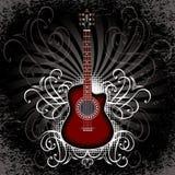 Έμβλημα με την ακουστική κιθάρα στο μαύρο υπόβαθρο Στοκ Εικόνες