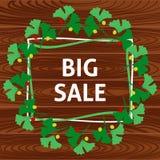 Έμβλημα με την πώληση στην ξύλινη σύσταση Στοκ εικόνες με δικαίωμα ελεύθερης χρήσης