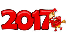 Έμβλημα 2017 με τον κόκκινο κόκκορα Στοκ εικόνα με δικαίωμα ελεύθερης χρήσης