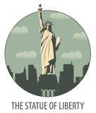 Έμβλημα με το άγαλμα της ελευθερίας Στοκ εικόνα με δικαίωμα ελεύθερης χρήσης