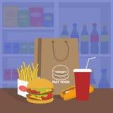 Έμβλημα με το γρήγορο φαγητό με την κόλα, το χάμπουργκερ και τα τηγανητά Διανυσματική απεικόνιση