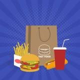 Έμβλημα με το γρήγορο φαγητό με την κόλα, το χάμπουργκερ και τα τηγανητά Ελεύθερη απεικόνιση δικαιώματος