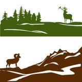 Έμβλημα με το τοπίο βουνών και το δάσος, σκιαγραφία Στοκ Εικόνες