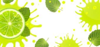 Έμβλημα με το χυμό ασβέστη και παφλασμών ελεύθερη απεικόνιση δικαιώματος