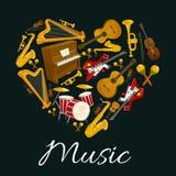 Έμβλημα μουσικής των μουσικών οργάνων στη μορφή καρδιών διανυσματική απεικόνιση