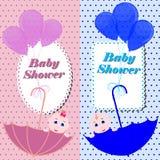 Έμβλημα ντους μωρών ή κάρτα πρόσκλησης χαριτωμένο κορίτσι αγοριώ απεικόνιση αποθεμάτων