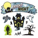 Έμβλημα νύχτας τρόμου αποκριών ελεύθερη απεικόνιση δικαιώματος