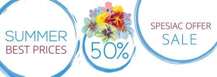Έμβλημα λουλουδιών θερινής πώλησης με το κείμενο στο άσπρο υπόβαθρο με τα όμορφα λουλούδια Καλλιτεχνικά διανυσματικά εμβλήματα σχ απεικόνιση αποθεμάτων