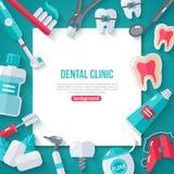 Έμβλημα οδοντιατρικής με τα επίπεδα εικονίδια Στοκ φωτογραφία με δικαίωμα ελεύθερης χρήσης