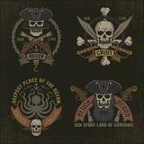 Έμβλημα πειρατών στο ύφος grunge απεικόνιση αποθεμάτων