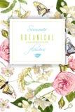 Έμβλημα πεταλούδων λουλουδιών Στοκ φωτογραφίες με δικαίωμα ελεύθερης χρήσης