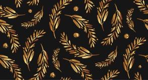 Έμβλημα πτώσης με τα χρυσά φύλλα διάνυσμα ασπίδων απεικόνισης 10 eps Στοκ Εικόνες