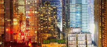 Έμβλημα πόλεων τη νύχτα Στοκ Εικόνες
