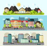 Έμβλημα πόλεων τοπίων επίπεδο Στοκ Φωτογραφία