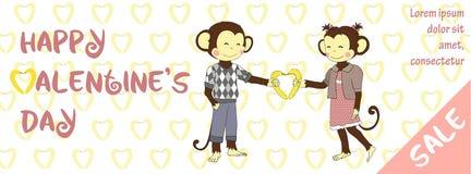 Έμβλημα πώλησης ημέρας βαλεντίνων με το χαριτωμένο πίθηκο Στοκ Φωτογραφία